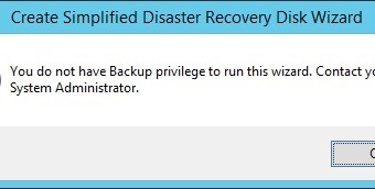 Backup Exec You do not have Backup privilege to run this wizard